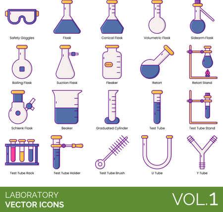 Laboratory icons including safety goggles, conical flask, volumetric, sidearm, boiling, suction, fleaker, retort stand, schlenk, beaker, graduated cylinder, test stand, rack, holder, brush, U, Y tube. Vecteurs