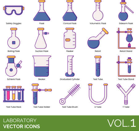Laboratory icons including safety goggles, conical flask, volumetric, sidearm, boiling, suction, fleaker, retort stand, schlenk, beaker, graduated cylinder, test stand, rack, holder, brush, U, Y tube. Vector Illustratie