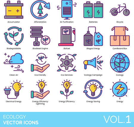Ecology icons including accumulator, afforestation, air purification, battery, bicycle, biodegradable, biodiesel engine, biofuel, biogas, cardboard box, clean, eco friendly, service, campaign, electrical, energy efficiency lighting, saving. Ilustrace