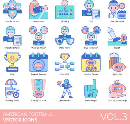 American football icons including special team, touchdown, trick play, draft, black monday, undrafted player, walk-on, utility, true freshman, kickoff, cup, regular season, playoff, sunday game, sports bar, hot dog stand, fantasy, quarterback, foam finger, scholarship. Ilustracja