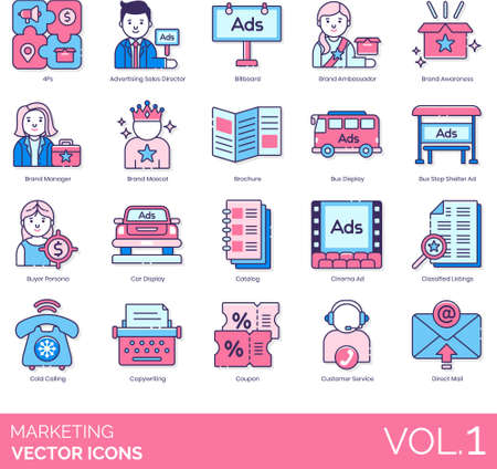 Marketing icons including 4Ps, advertising sales director, billboard, brand ambassador, awareness, manager, mascot, brochure, bus stop shelter ad, buyer persona, car display, catalog, cinema, classified listing, cold calling, copywriting, coupon, customer service, direct mail.