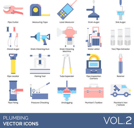 Plumbing icons including pipe cutter, measuring tape, laser measurer, drain auger, sink, closet, cleaning gun, machine, water jetter, tee extractor, locator, flaring tool, tube expander, inspection camera, reamer, fixing, pressure checking, unclogging, plumbers toolbox, van, vehicle.
