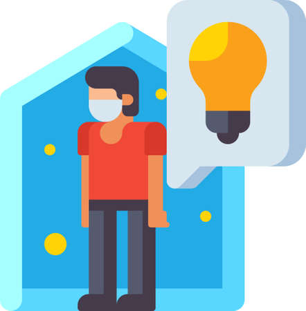 Flat icon illustration of quarantine tips. A male doing self-isolation at home during virus outbreak.