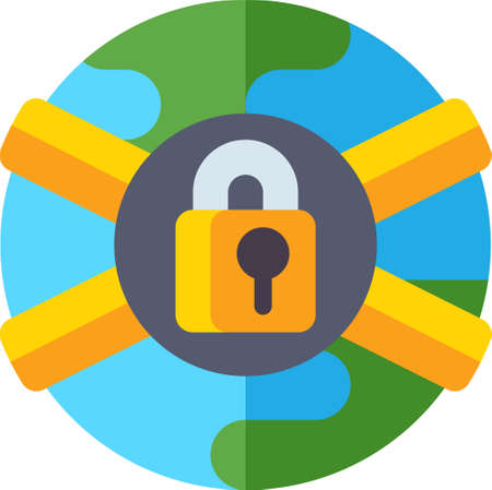 Flat icon illustration of total lock down. Earth with padlock symbol. Virus outbreak and pandemic concept.