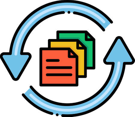 Flat vector icon illustration of documents in a circular arrow. UX backlog concept. A list of features or technical tasks to complete a release.