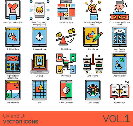 UX and UI icons including user experience design, interface, interaction, customer, 3 click rule, 5 second test, 80-20, sketching, low, high fidelity wireframe, mock up, prototype, A/B testing, accessibility, golden ratio, grid, contrast, color wheel, brand book.