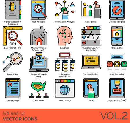 UX and UI icons including corporate identity guideline, web analytics, clickstream analysis, gestalt principles, DPI, MVP, mindmap, CJM, onboarding, data driven, responsive design, information architecture, vertical rhythm, user scenario, persona, heat maps, breadcrumbs, button, CTA.