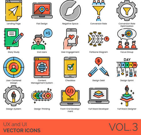 UX and UI icons including landing page, flat design, negative space, conversion rate optimization, diary study, end user, engagement, fishbone diagram, focus group, user-centered, CMS, checkbox, debt, sprint, system, thinking, front-end development, full stack developer, designer.