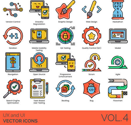UX and UI icons including version control, graceful degradation, graphic design, web, hackathon, iteration, mobile usability, QA testing, QC, modal, navigation, open source, progressive enhancement, scrum, agile, SEO, task-based user, backlog, bug, flowchart.