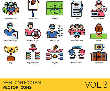 American football icons including special team, touchdown, trick play, draft, black monday, undrafted player, walk-on, utility, true freshman, kickoff, cup, regular season, playoff, sunday game, sports bar.