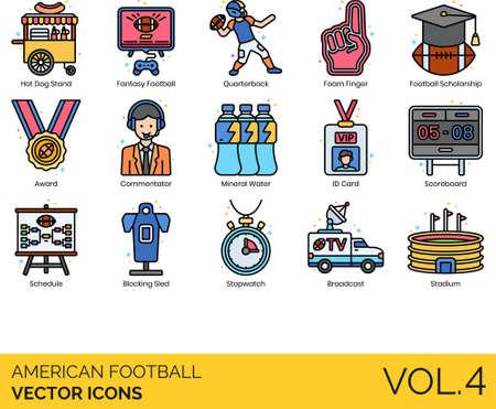American football icons including hot dog stand, fantasy, quarterback, foam finger, scholarship, award, commentator, mineral water, ID card, scoreboard, schedule, blocking sled, stopwatch, broadcast, stadium.