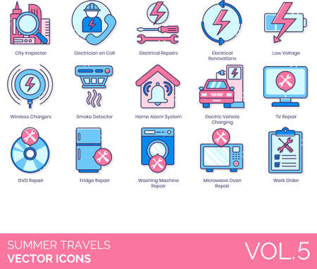 Electrician icons including city inspector, on call, electrical repair, renovation, low voltage, wireless charger, smoke detector, home alarm system, electric vehicle charging, TV, DVD, fridge, washing machine, microwave oven, work order.