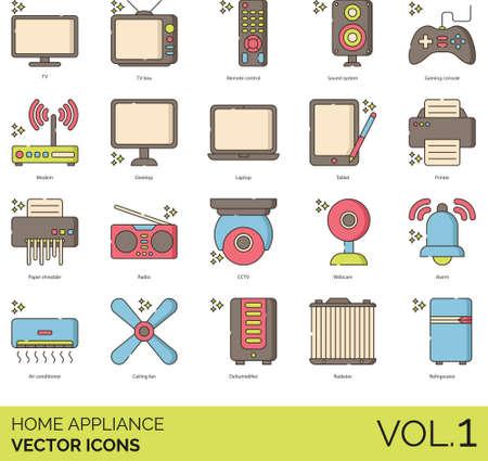 Home appliance icons including TV box, remote control, sound system, gaming console, modem, desktop, laptop, tablet, printer, paper shredder, radio, CCTV, webcam, alarm, air conditioner, ceiling fan, dehumidifier, radiator, refrigerator.