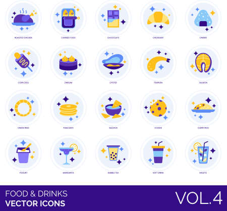 Food and drinks icons including roasted chicken, canned, chocolate, croissant, onigiri, corn dog, dim sum, oyster, tempura, salmon, onion ring, pancake, nachos, cookies, curry rice, yoghurt, margarita, bubble tea, soft, mojito.