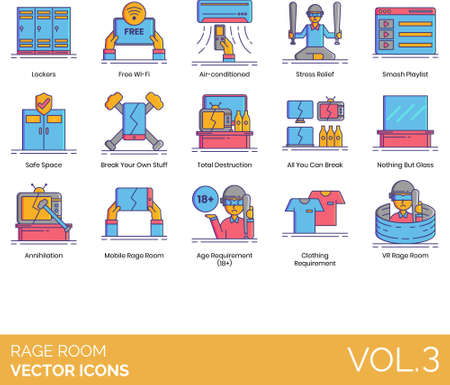 Rage room icons including lockers,  air-conditioned, stress relief, smash playlist, safe space, your own stuff, total destruction, all you can break, nothing but glass, annihilation, mobile, age requirement, 18 , clothing, VR.