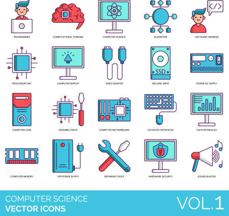 Computer science icons including programmer, computational thinking, algorithm, software engineer, processor unit, display, video adapter, SSD disk drive, power AC supply, case, assemble part, motherboard, outdated interface, data, memory, UPS, repairing tools, hardware security, sound blaster.