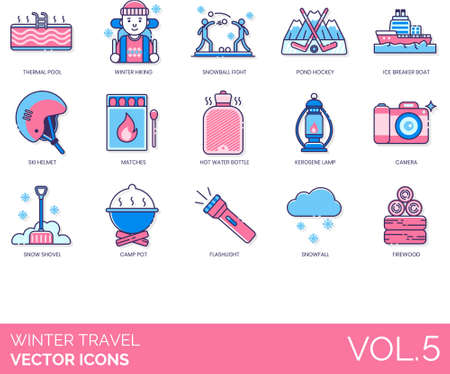 Winter travel icons including thermal pool, hiking, snowball fight, pond hockey, ice breaker boat, ski helmet, matches, hot water bottle, kerosene lamp, camera, snow shovel, camp pot, flashlight, snowfall, firewood.