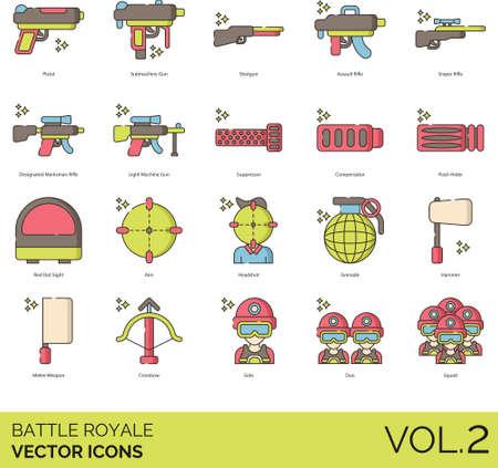 Battle royale icons including pistol, submachine, shotgun, assault rifle, sniper, designated marksman, light machine gun, suppressor, compensator, flash hider, red dot sight, aim, headshot, grenade, hammer, melee weapon, crossbow, solo, duo, squad.
