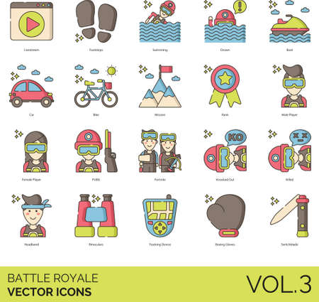 Battle royale icons including livestream, footsteps, swimming, drown, boat, car, bike, mission, rank, player, knocked out, killed, headband, binoculars, tracking device, boxing gloves, switchblade.