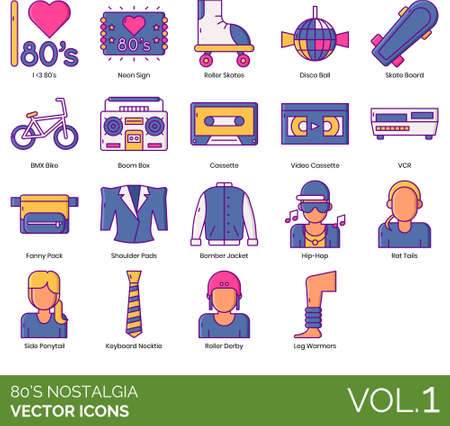 Eighties nostalgia icons including i love 80s, neon sign, disco ball, skate board, bmx bike, boom box, video cassette, vcr, fanny pack, shoulder pads, bomber jacket, hip-hop, rat tail, side ponytail, keyboard necktie, roller derby, leg warmer. Фото со стока - 147502279