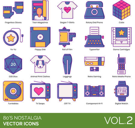 Eighties nostalgia icons including fingerless gloves, teen magazine, slogan t-shirt, rotary dial phone, cube puzzle, yo-yo, floppy disk, roll of film, typewriter, game cartridge, d20 dice, animal print clothes, leggings, retro, mobile, turntable, tv soaps, CRT, component hi-fi, digital watch. Фото со стока - 147502281