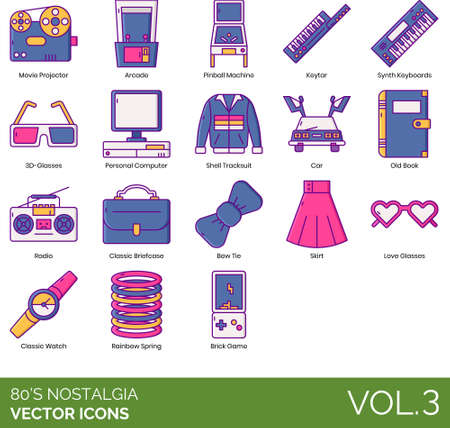 Eighties nostalgia icons including movie projector, arcade, pinball machine, keytar, synth keyboard, 3D, personal computer, shell tracksuit, car, old book, radio, classic briefcase, bow tie, skirt, love glasses, watch, rainbow spring, brick game.