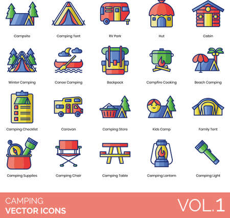 Camping icons including campsite, tent, RV park, hut, cabin, winter, canoe, backpack, campfire cooking, beach, checklist, caravan, store, kids camp, family, supplies, chair, table, lantern, light.