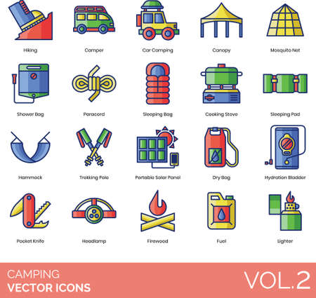 Camping icons including hiking, camper, car, canopy, mosquito net, shower bag, paracord, sleeping, cooking stove, pad, hammock, trekking pole, portable solar panel, dry, hydration bladder, pocket knife, headlamp, firewood, fuel, lighter.
