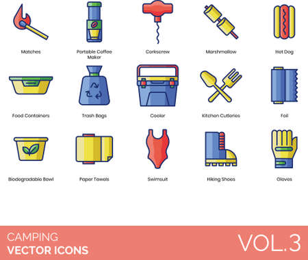 Camping icons including matches, portable coffee maker, corkscrew, marshmallow, hot dog, food container, trash bag, cooler, kitchen cutleries, foil, biodegradable bowl, paper towel, swimsuit, hiking shoes, gloves. Illustration