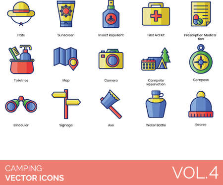 Camping icons including hat, sunscreen, insect repellent, first aid kit, prescription medication, toiletries, map, camera, campsite reservation, compass, binoculars, signage, axe, water bottle, beanie. Ilustracja