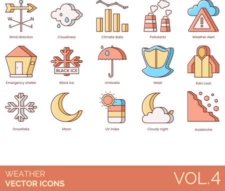 Weather icons including wind direction, cloudiness, climate data, pollutants, alert, emergency shelter, black ice, umbrella, mask, raincoat, snowflake, moon, UV index, cloudy night, avalanche. Ilustracja