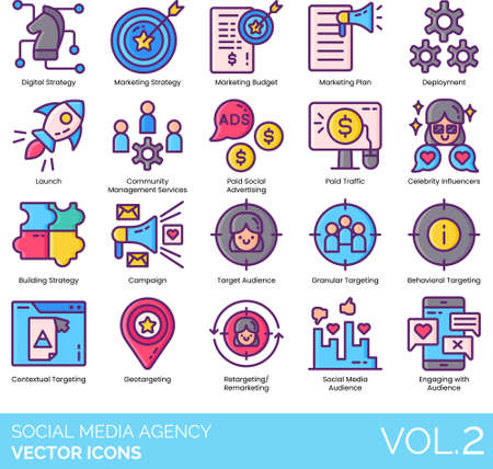 Social media agency icons including digital strategy, marketing budget, plan, deployment, launch, community management service, paid advertising, traffic, celebrity influencer, building, campaign, audience, granular, behavioral, contextual targeting, geotargeting, retargeting remarketing, engaging.