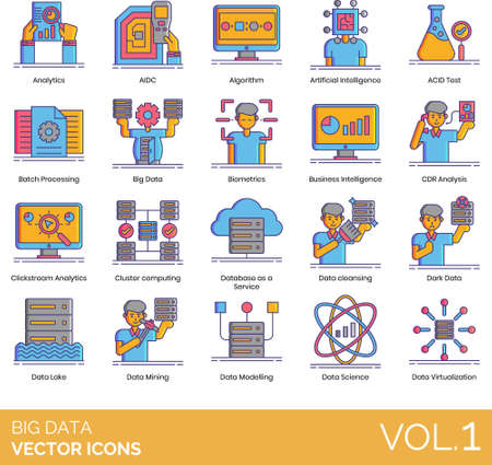 Big data icons including analytics, AIDC, algorithm, artificial intelligence, ACID test, batch processing, biometrics, business, CDR analysis, clickstream, cluster computing, database as a service, cleansing, dark, lake, mining, modeling, science, virtualization