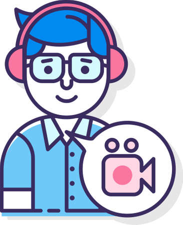 flat icon illustration of record producer. A male with headphones and video recorder symbol in a speech bubble.