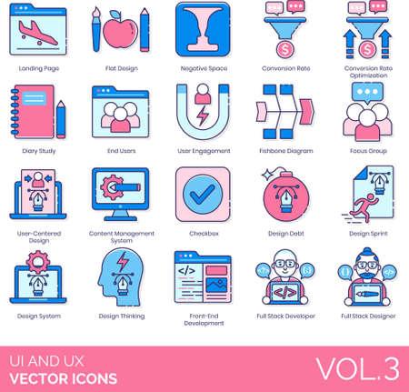 Line icons of UI and UX design, user engagement, development Vektorové ilustrace