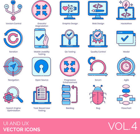 Line icons of UI and UX design, engineering, SEO, technology Illusztráció