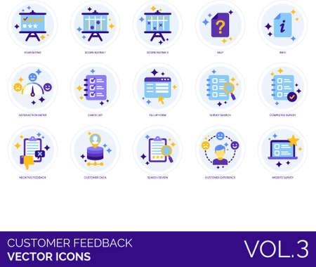 Flat icons of customer feedback and survey, ratings, experience