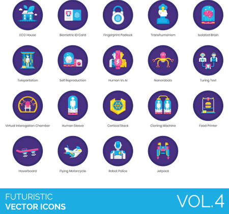 Futuristic icons including eco house, biometric ID card, fingerprint padlock, transhumanism, isolated brain, teleportation, self reproduction, human vs AI, nanorobot, turing test, virtual interrogation chamber, sleeve, cortical stack, cloning machine, food printer, hoverboard, flying motorcycle, robot police, jetpack. Çizim