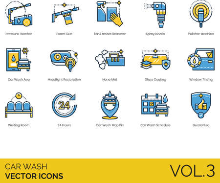 Line icons of car wash business, tools, cleaning product