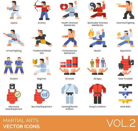 Martial arts icons including jujutsu, archery, health, spirituality oriented, unarmed fighting, armed, traditional, contemporary, master, apprentice, student, beginner, all levels, ages, gear provided, necessary equipment, buy, karategi, karate uniform, kung fu, rank belt.