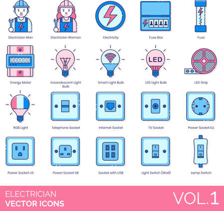 Electrician icons including man, woman, electricity, fuse box, energy meter, incandescent light bulb, smart, LED strip, RGB, telephone, internet, TV, power socket EU, US, UK, USB, switch, wall, lamp.