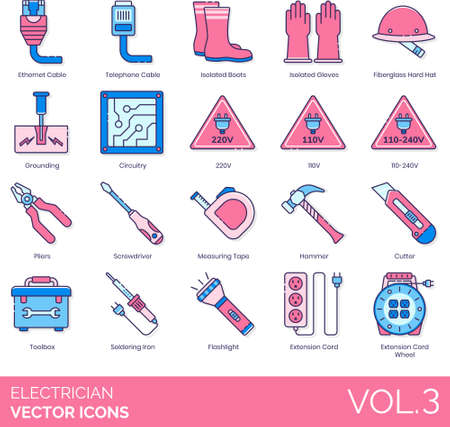 Line icons of electrician, electrical engineer, equipment and tools