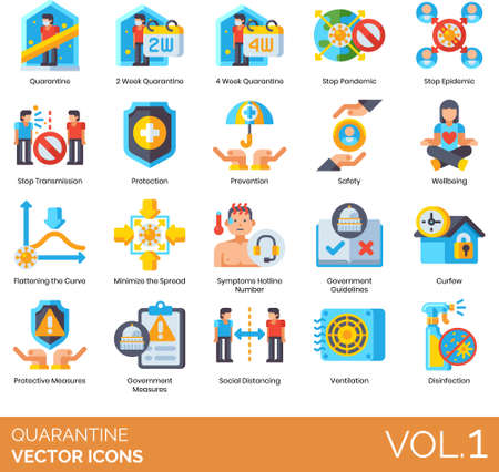Flat icons of quarantine programs, government guidelines, disease prevention
