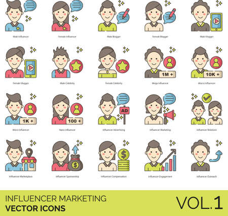 Line icons of influencer marketing, strategy, advertising, career Ilustracja