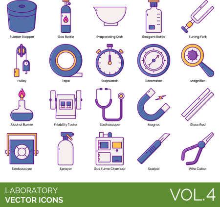 Line icons of laboratory instruments, equipment, devices Stock Illustratie