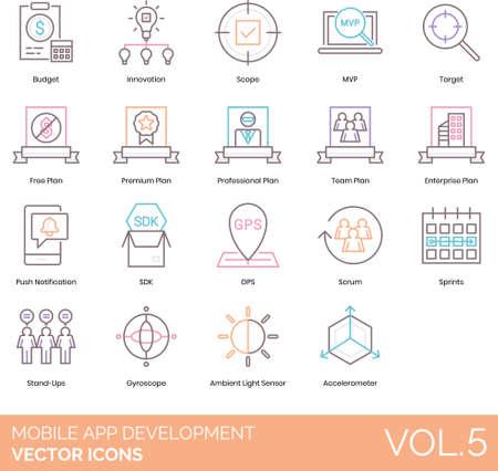 Line icons of mobile app development, target, plan, innovation