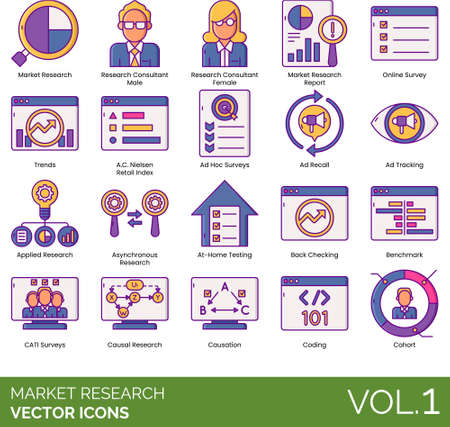 Line icons of market research, survey, analytics, information