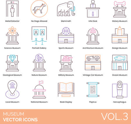 Icons of museum types and categories, collections, rules