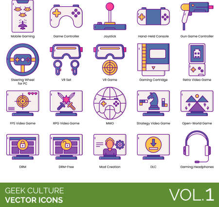 Geek culture icons including mobile gaming, joystick, handheld console, gun controller, steering wheel for PC, VR set, cartridge, retro videogame, FPS, RPG, MMO, strategy, open world, DRM free, mod creation, DLC, headphones. 向量圖像