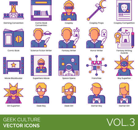 Icons of geek culture, lifestyle, convention, interest, activity Иллюстрация